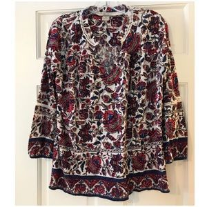 Lucky Brand Boho Floral Print 3/4 Sleeve Blouse M
